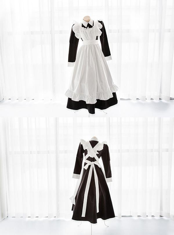 ロング丈ブラックメイド服《かわいいコスプレ3点セット》【SEVENTY-THREE】【2731】