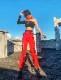 ダンス衣装 セクシー ダンス 衣装 ダンスウェア ダンスウエア 舞台衣装 レッド 赤 ストリート hiphop ロングパンツ【dance-8340】