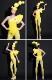 セクシー ダンスウェア 黄色 イエロー コスチューム ダンス衣装 イベント ダンス 衣装 派手 目立つ ステージ 舞台【dance-8472】