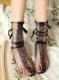 デザインソックス ソックス 飾り付き デザインタイツ リボン 短い 可愛い オシャレ 靴下 シースルー ブラック 黒【st629】