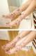 デザインソックス 刺繍 ソックス 花飾り付き デザインタイツ 花柄 短い 可愛い オシャレ 靴下 シースルー ピンク【st630】