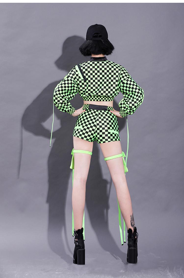 セクシー ダンスウェア チェッカー柄 セットアップ コスチューム ブラック グリーン ダンス衣装 イベント ダンス 衣装【dance-08590】
