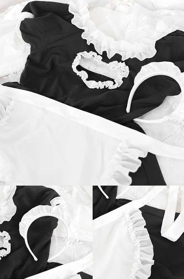 ブラックフリルメイド《かわいいコスプレ3点》【SEVENTY-THREE】【k0599】