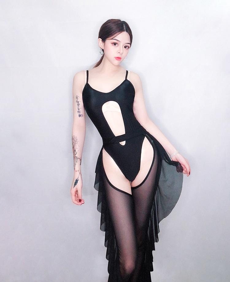 セクシー ダンスウェア ボディスーツ コスチューム ブラック グリーン ダンス衣装 イベント ダンス 衣装【dance-84530】