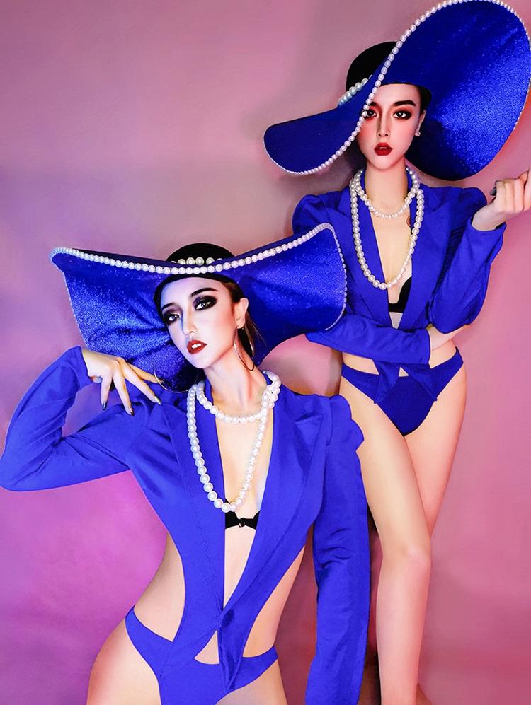 セクシー ダンスウェア 青 ブルー ボディスーツ コスチューム ダンス衣装 イベント ダンス 舞台衣装【dance-8502-2】