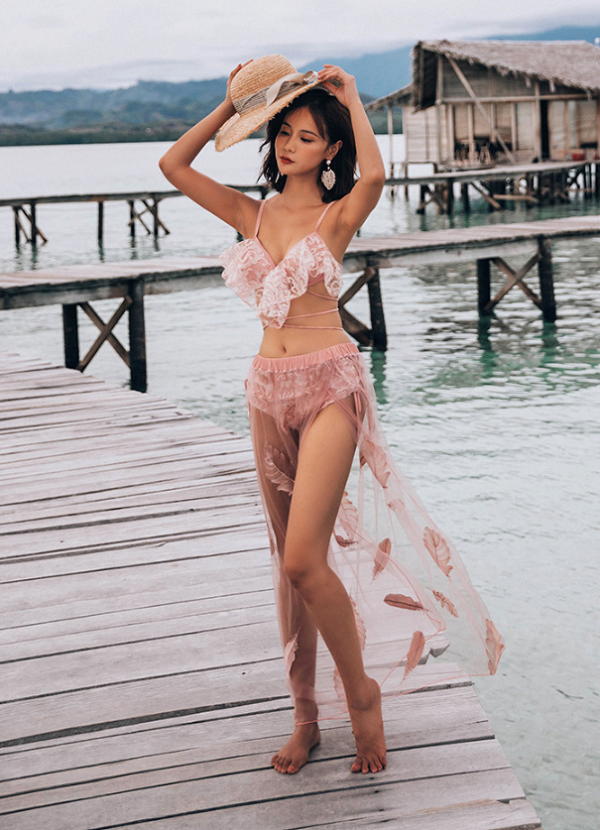 スカート付きベビーピンク水着《レディース水着3点セット》【3697】