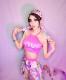 セクシー ダンスウェア セットアップ コスチューム ピンク 花柄 ダンス衣装 イベント ダンス 衣装【dance-8435】