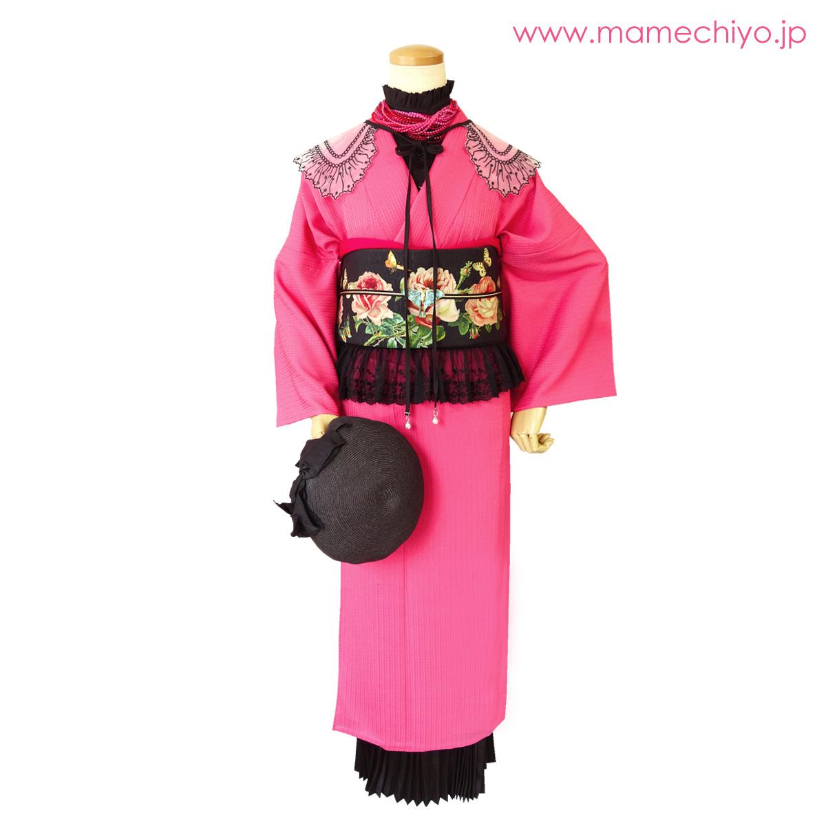 単衣着物 puzzle ピンク Mサイズのみ【店頭在庫】