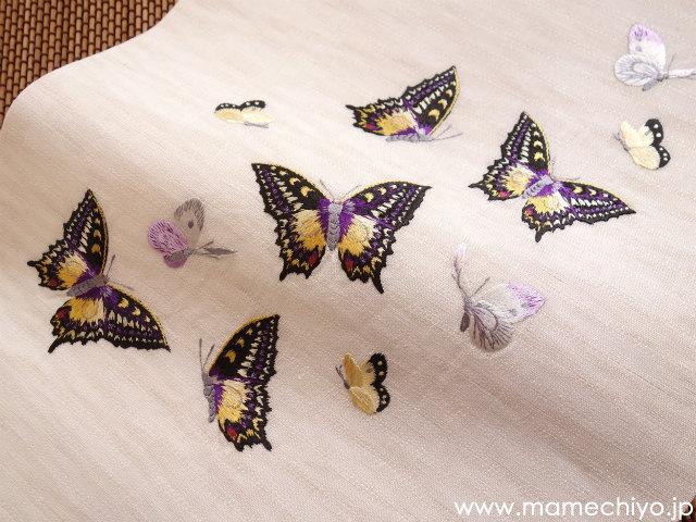 麻絽 夏名古屋帯 刺繍 揚羽蝶(紫)