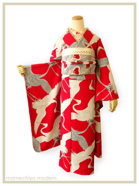 振袖・2尺袖 鶴 赤 【店頭在庫含む】