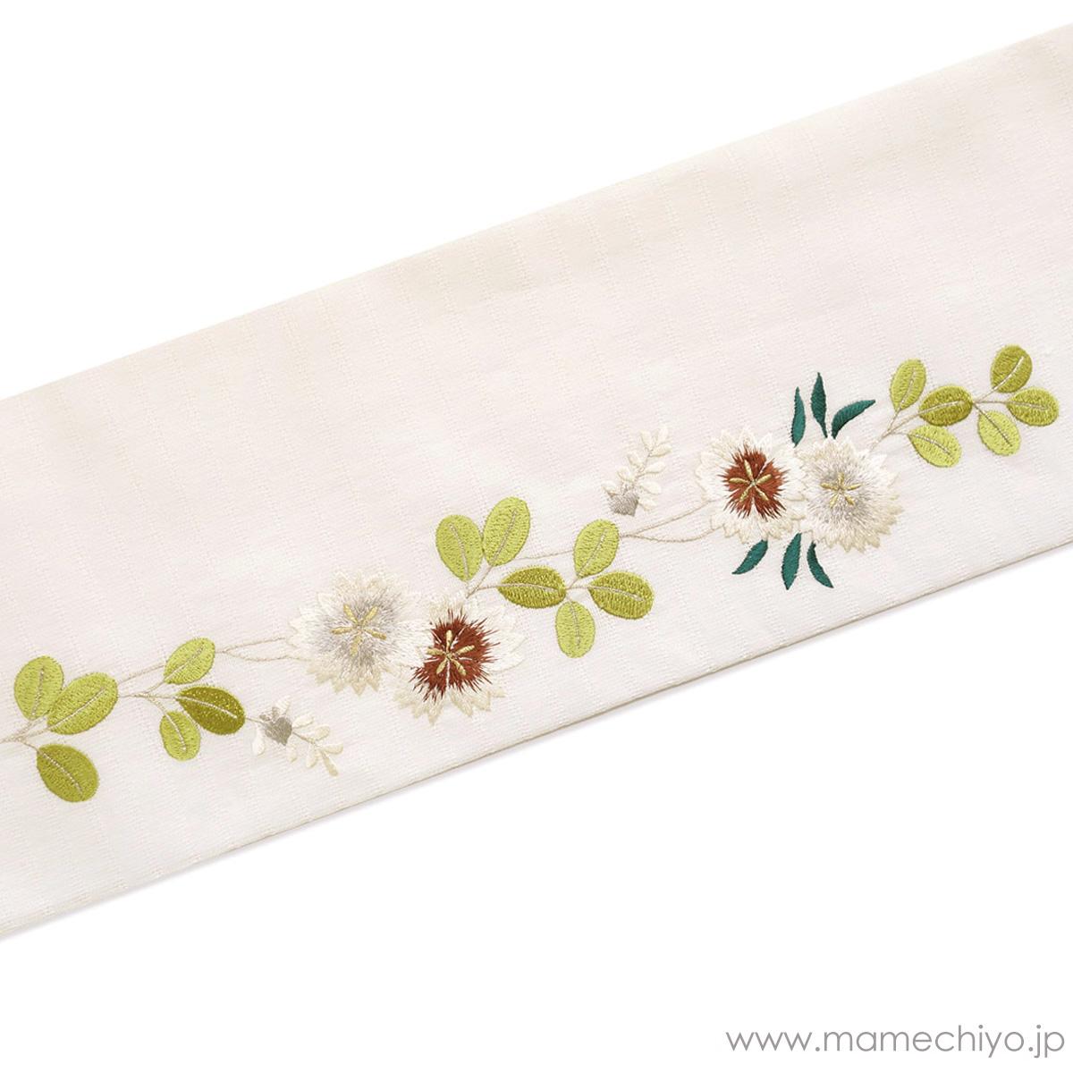 麻絽 夏名古屋帯 刺繍 萩と撫子