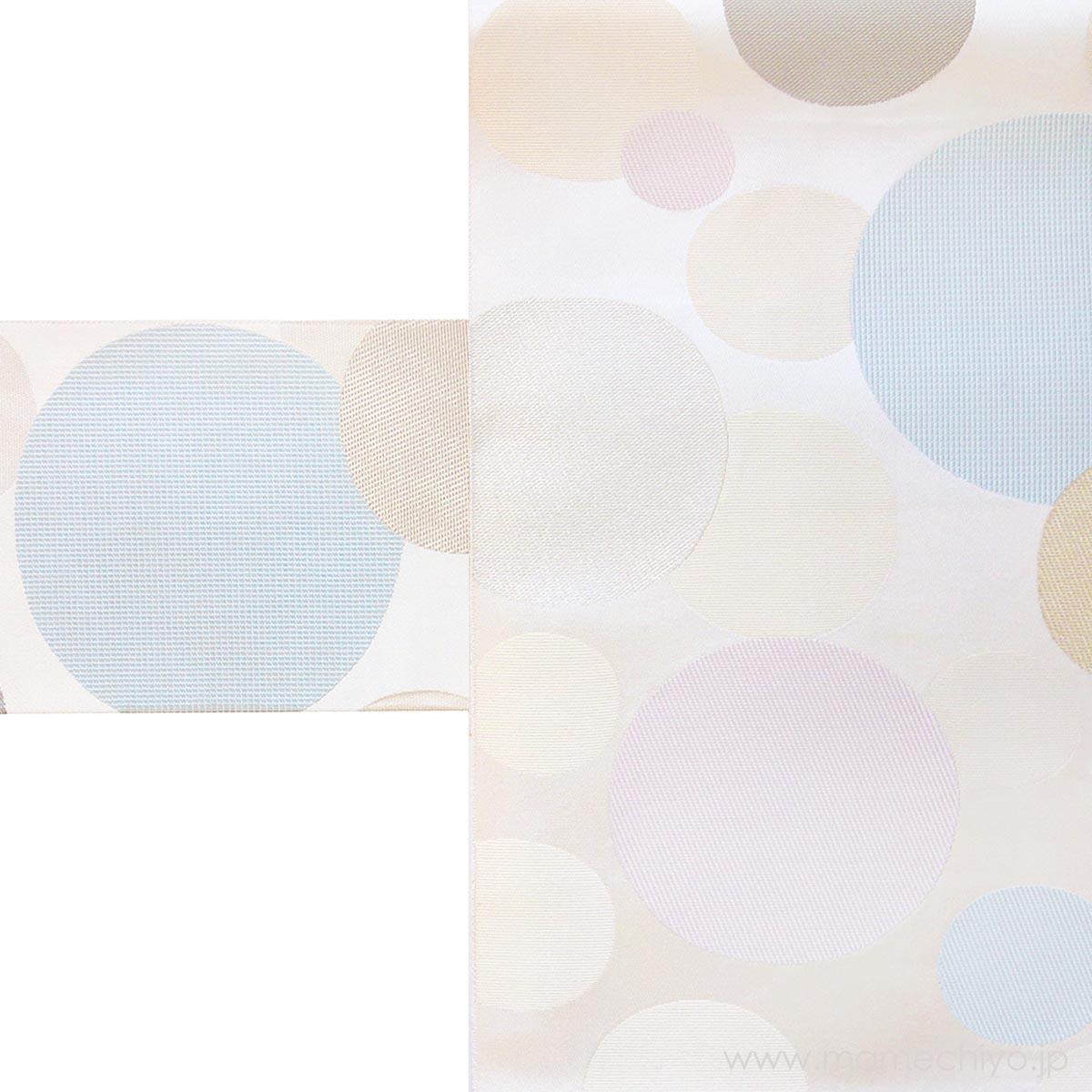 名古屋帯 博多織 水玉 (ホワイトプラネット)