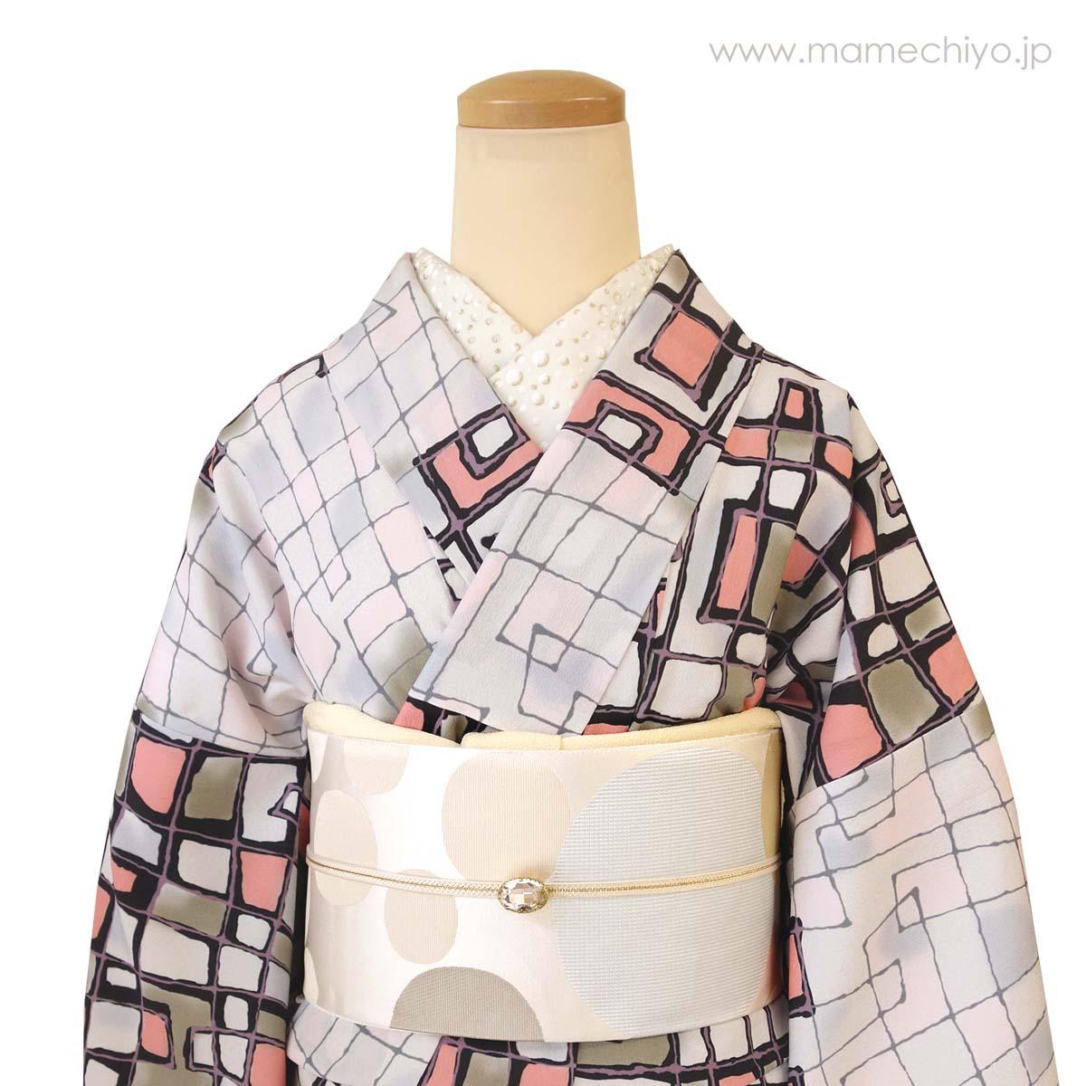 正絹 名古屋帯 博多織 水玉 (ホワイトプラネット)