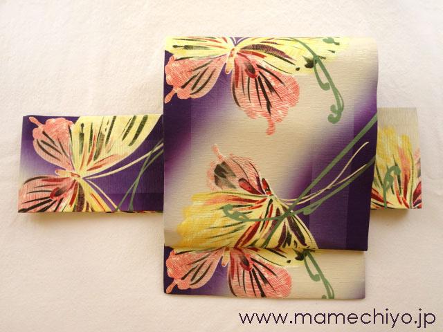 正絹 名古屋帯 蝶と蕨