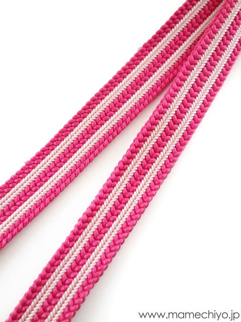 帯締め ストライプ (ホットピンク×桜)