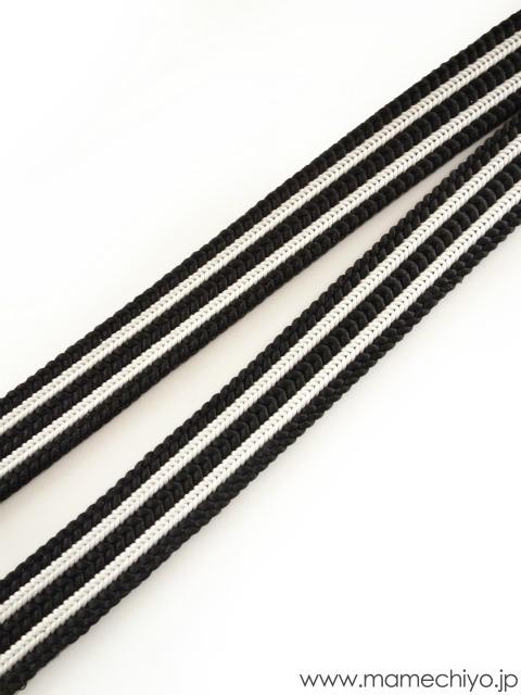 帯締め ストライプ (黒×白)