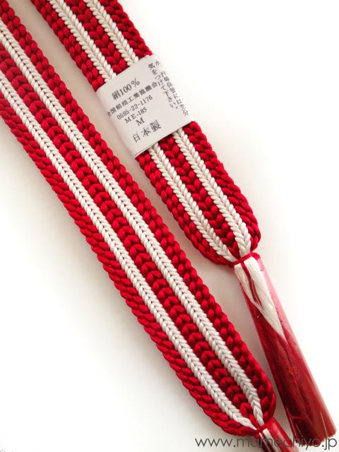 帯締め ストライプ (深紅×白)