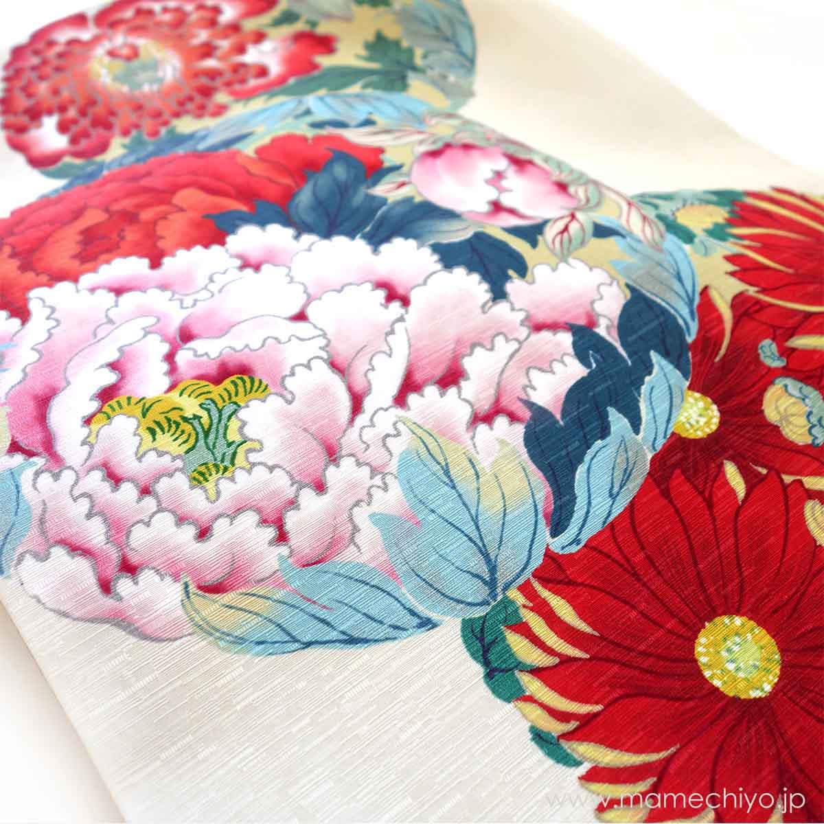 正絹 名古屋帯 花丸紋