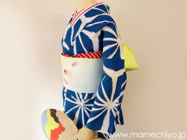 半巾帯 刺繍 金魚 (ブルー)