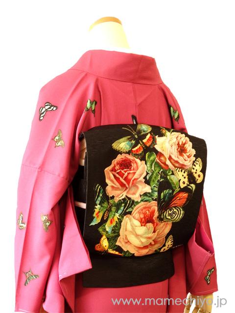 正絹 名古屋帯 薔薇の香り(ジェット・ブラック)