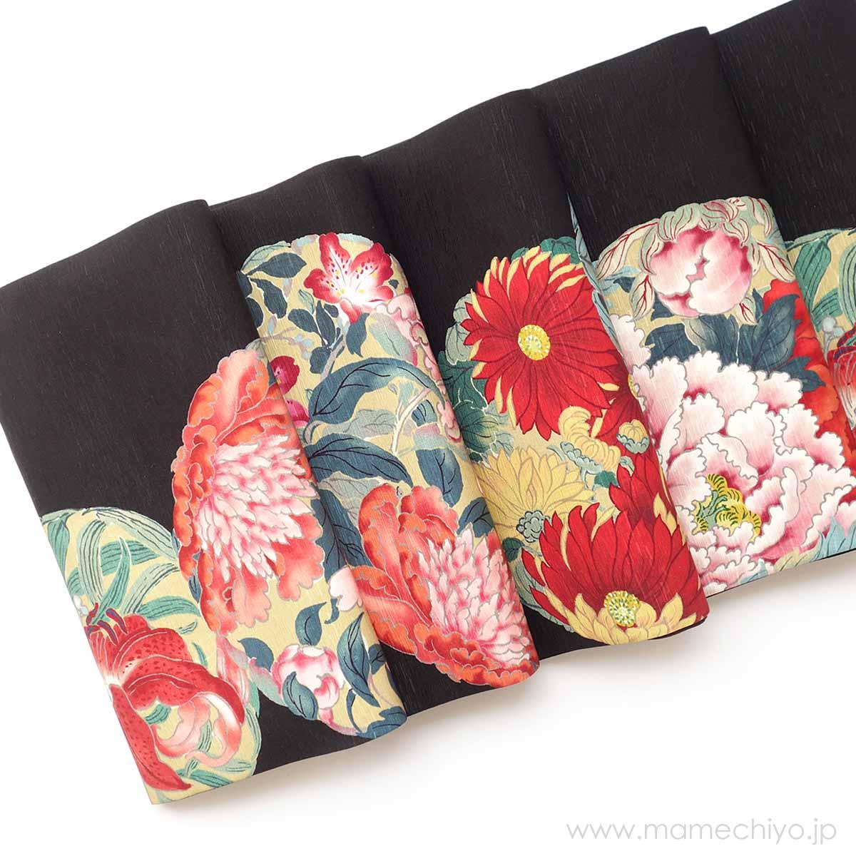 正絹 丸帯 花丸紋 (黒)