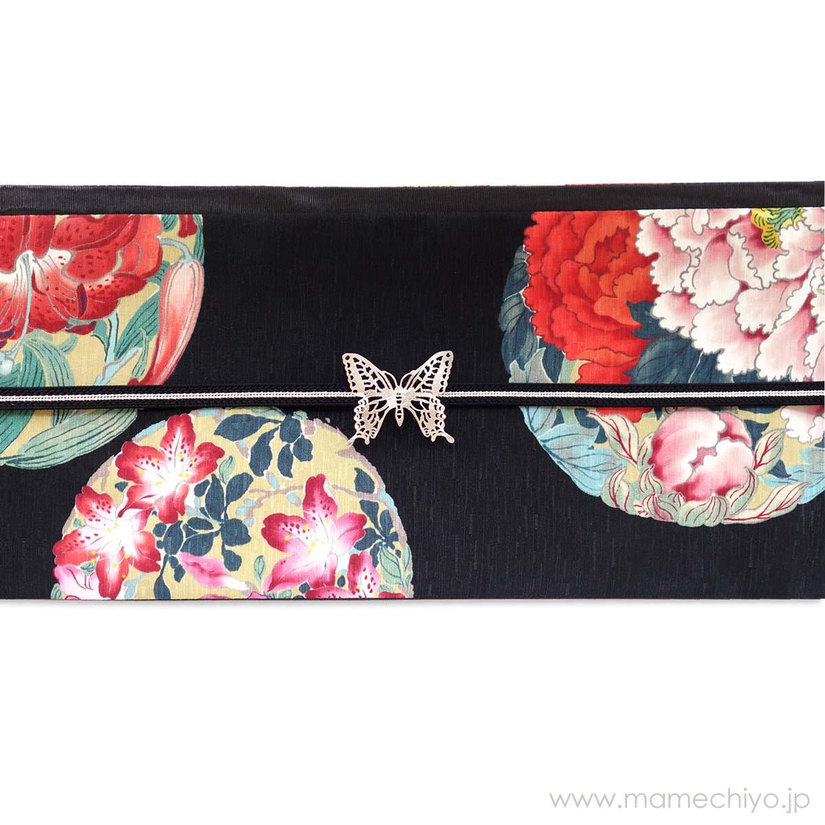 半巾帯 花丸紋(黒)