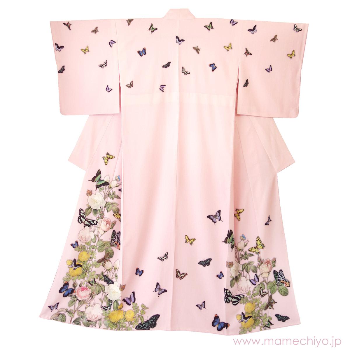 訪問着「薔薇と蝶のワルツ」 ペールピンク