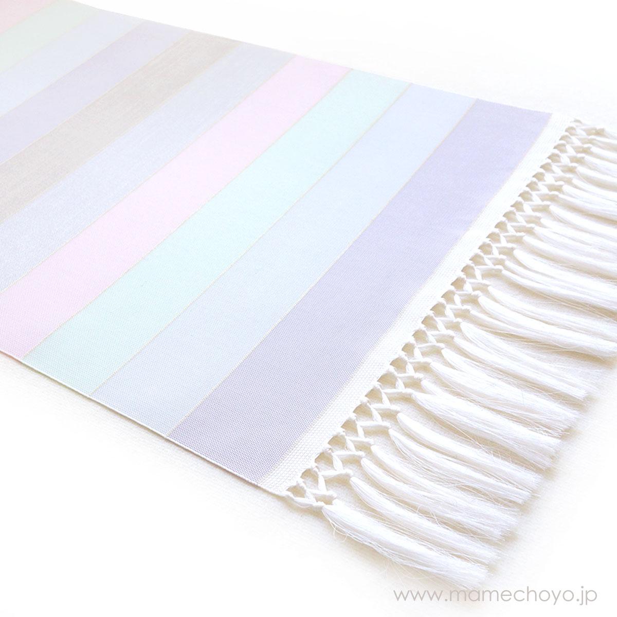 正絹博多織 単衣帯「ひとへこえ 縞 オーロラ」