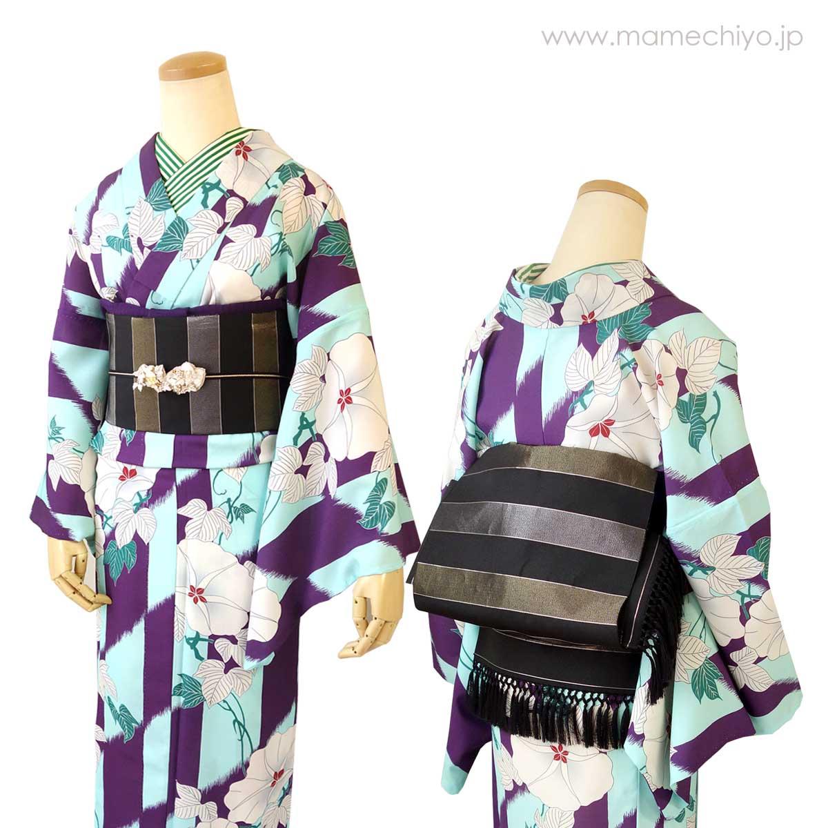 正絹博多織 単衣帯「ひとへこえ 縞 ギャラクシー」