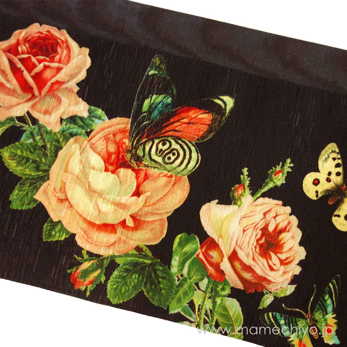 半巾帯 薔薇の香り ジェットブラック