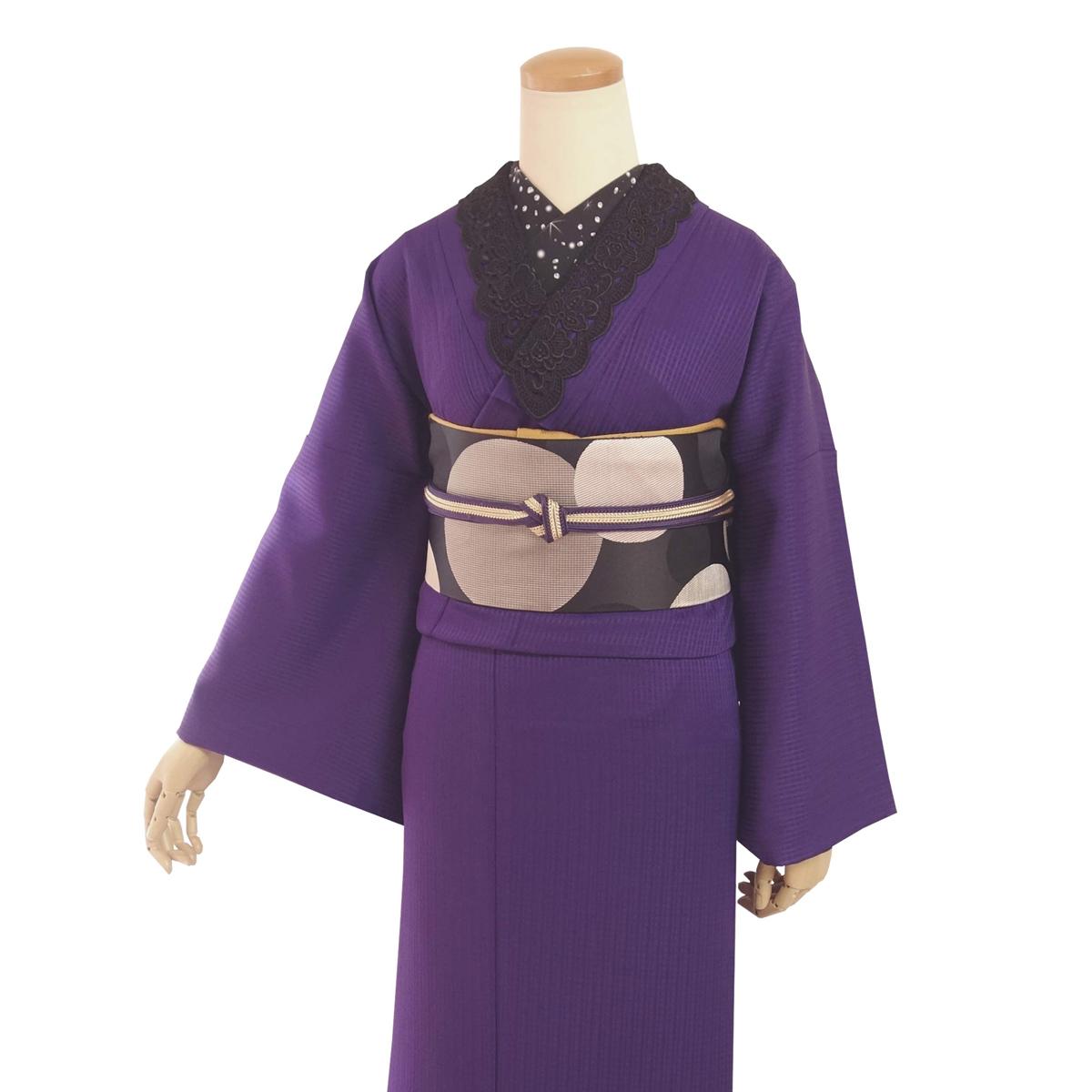 【レンタル】袷着物 Puzzle 紫紺