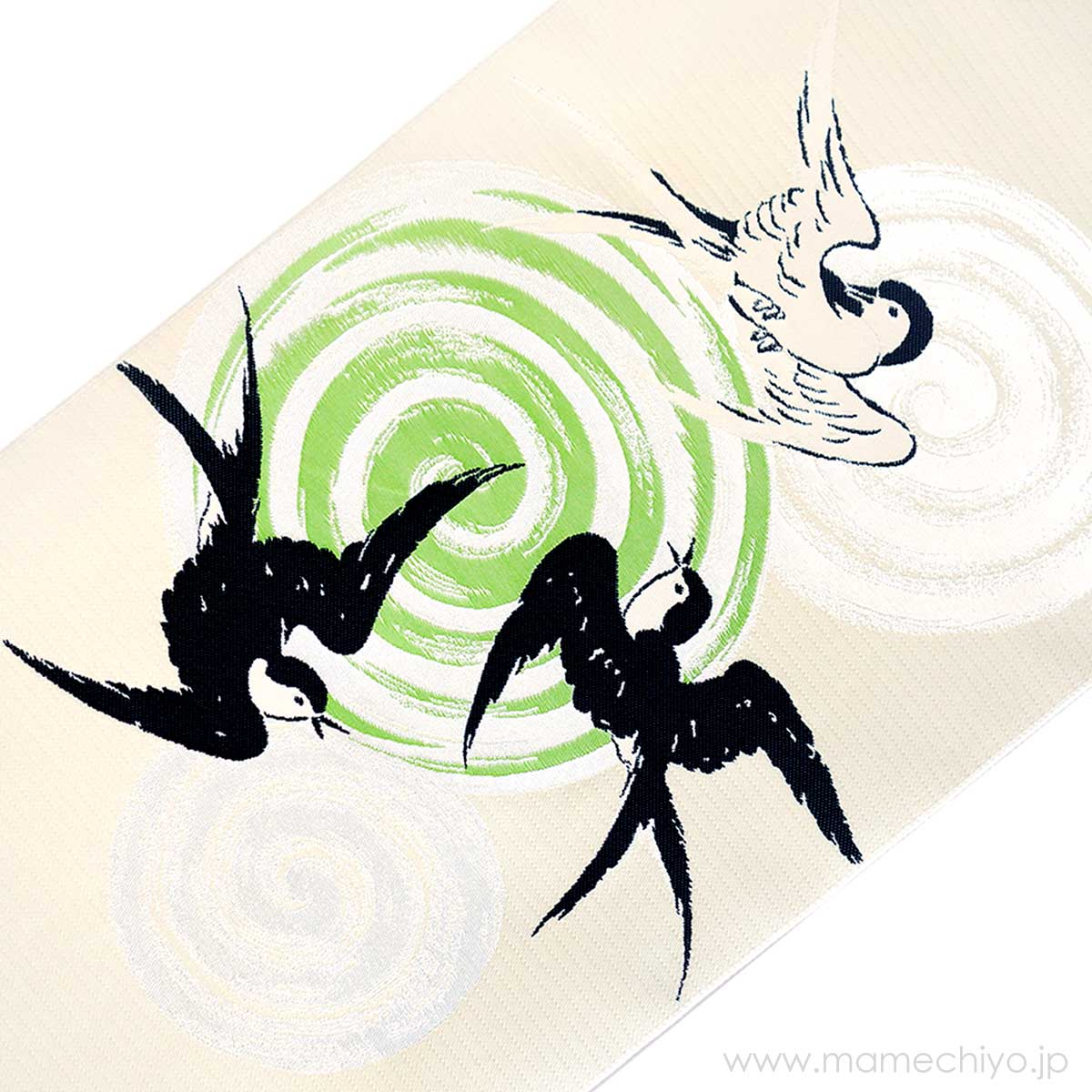 <受注品>名古屋帯 博多織 ツバメ (黄緑)