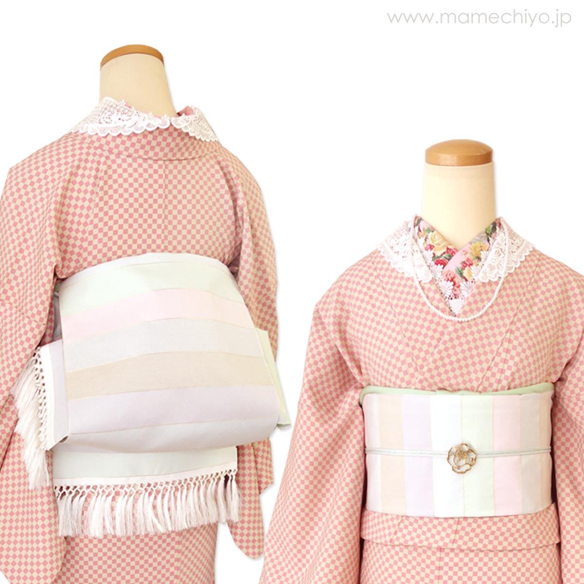 <受注品>単衣帯とへこ帯の両方のいいとこ取り!!博多織「ひとへこえ 縞 (オーロラ)」