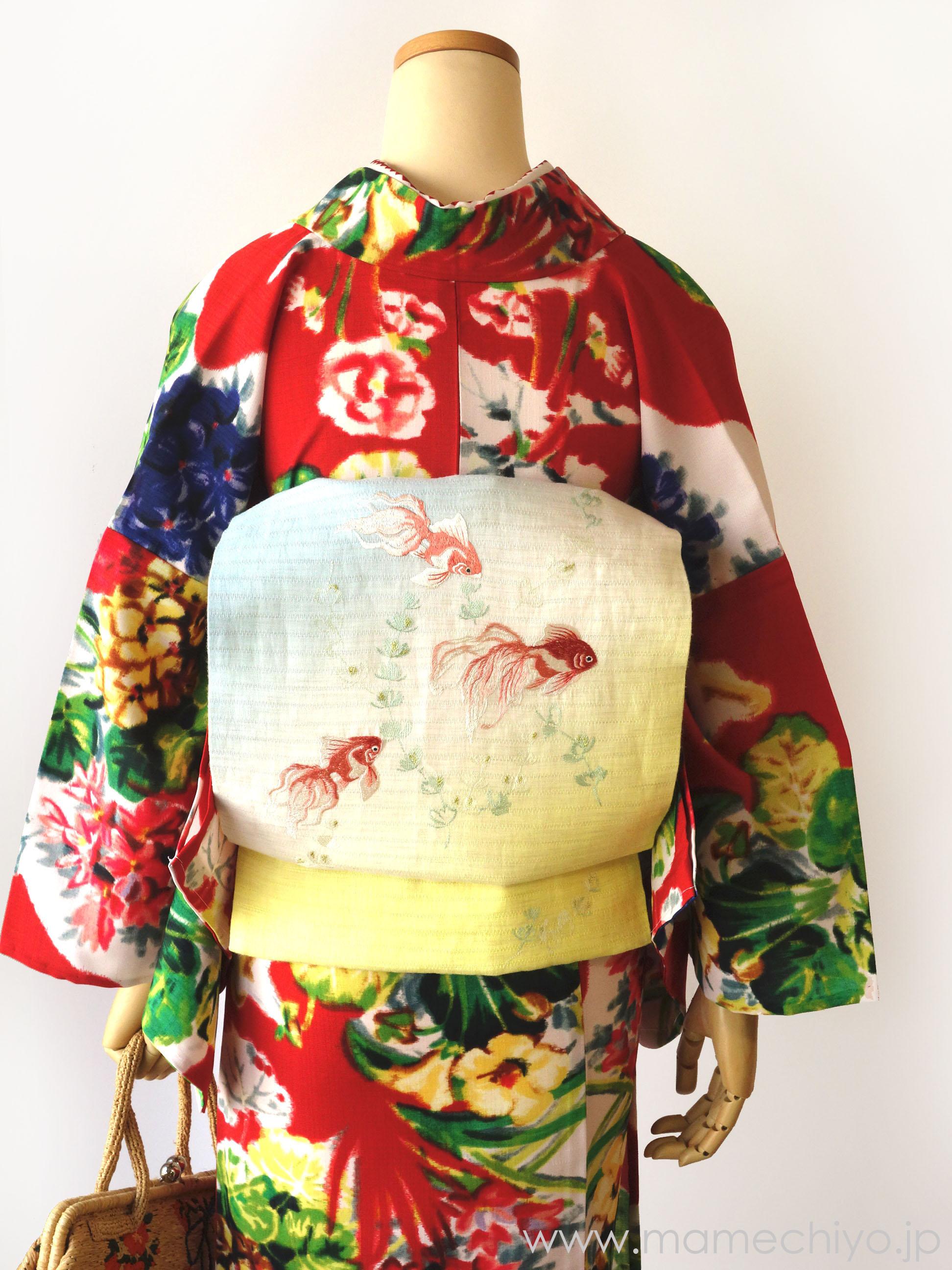 麻絽 夏名古屋帯 刺繍 金魚(ブルー)