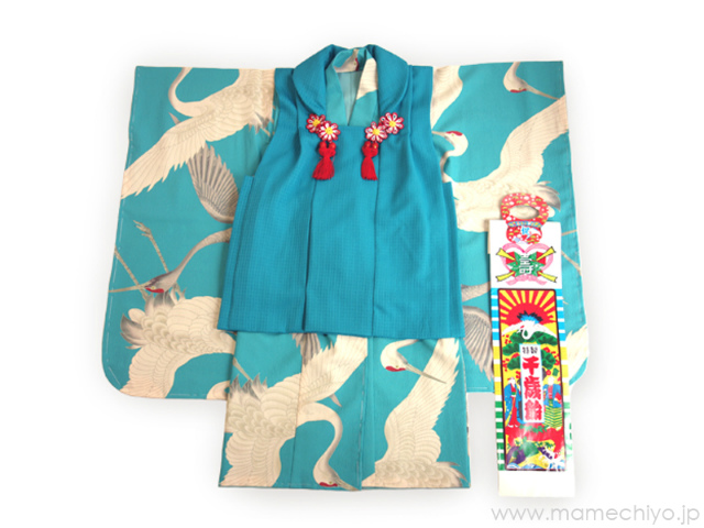 三つ身 「鶴」水色