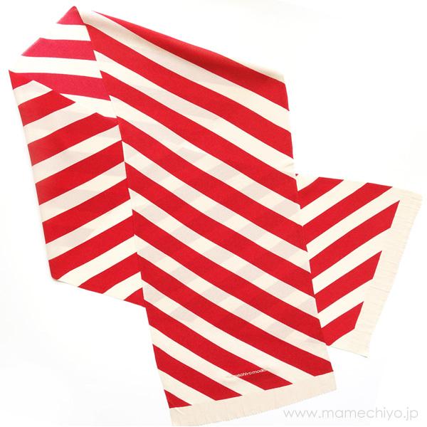 帯揚げ 手綱(斜め縞)赤