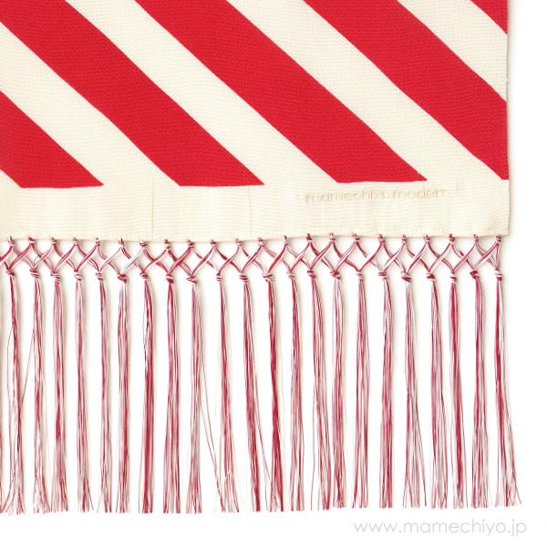 正絹しごき 手綱(斜め縞) 赤
