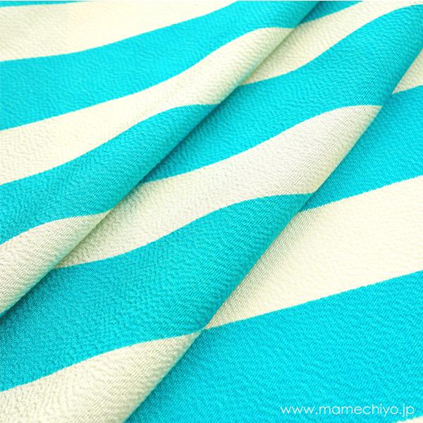 正絹しごき 手綱(斜め縞) 水色