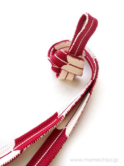帯締め 矢羽根 (深紅)