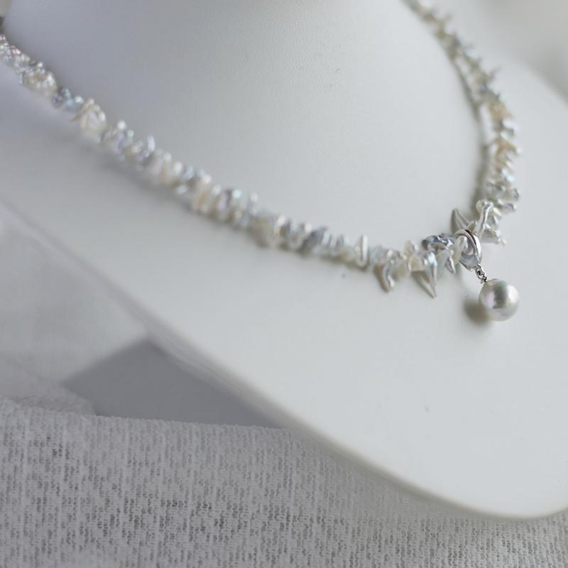 ナチュラルakoyaケシネックレスと大珠10�珠ペンダント【あこや真珠】