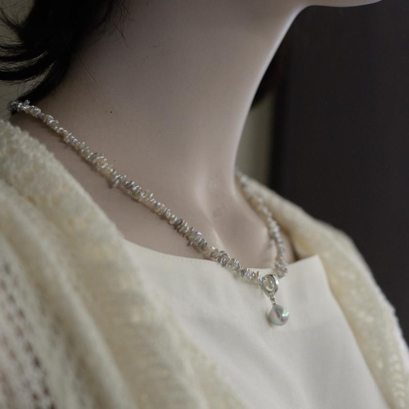 ナチュラルakoyaケシネックレスと大珠9�珠ペンダント【あこや真珠】