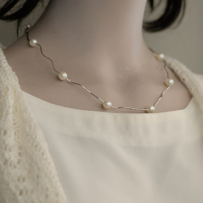 艶やかな7mm珠SVパイプ エレガントなネックレス【あこや真珠】
