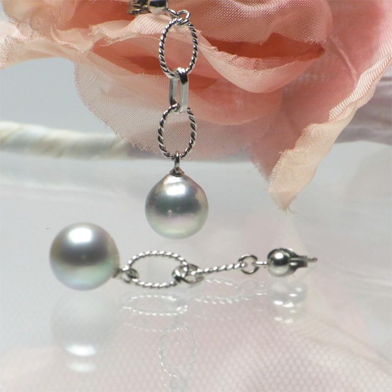 大珠8.6�の艶やかブルーパールのエレガントな揺れるピアス【あこや真珠】