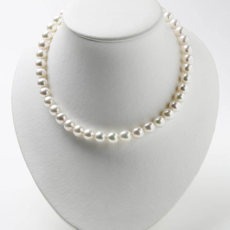 希少な和珠の超大粒お買い得9�−9.8�ネックレス。二本目にお勧め 鮮やかなホワイト系ピンクで華やか・・・お洒落な留め金マグピタ付き【あこや真珠】