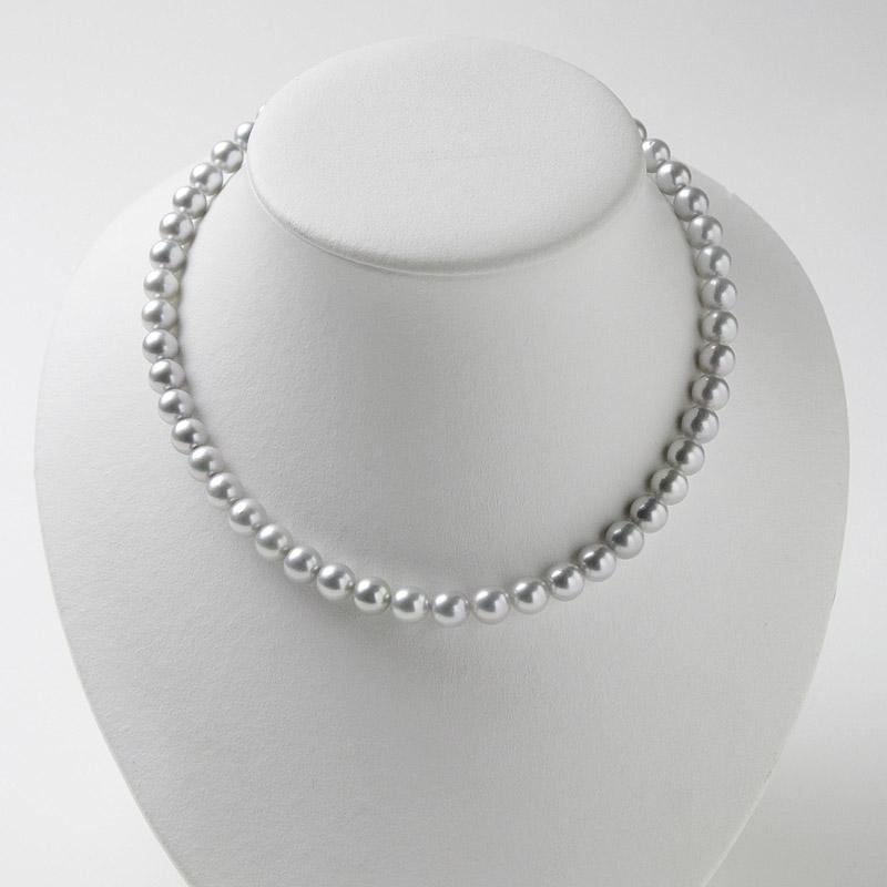 上級な輝き、優しいグレー系パール7mm−8mmネックレス 。不祝儀やお洒落使いにも活躍 40歳からの二本目やプレゼントにお勧め…お洒落な留め金マグピタ付き【あこや真珠】