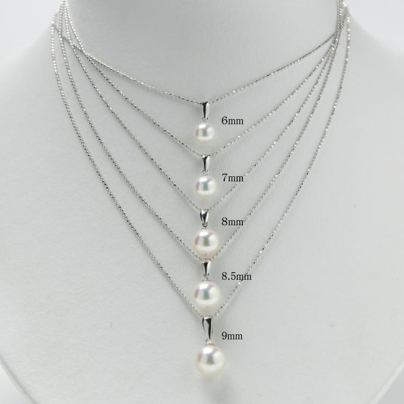 珠玉の7.7�前後の一粒珠スルーペンダントSV【あこや真珠】