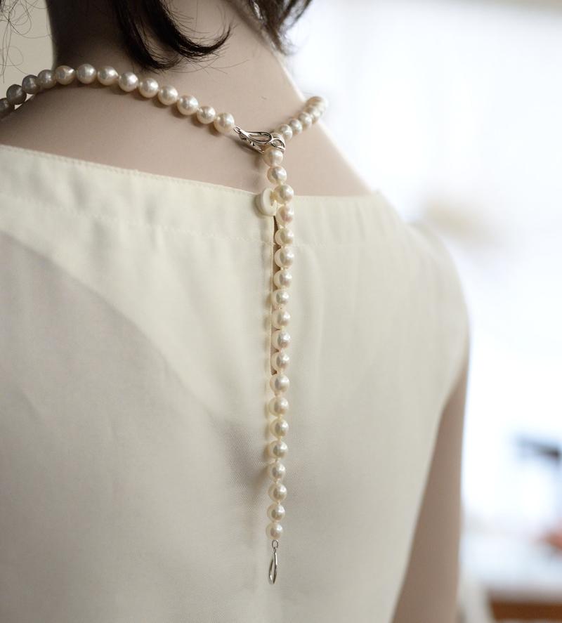 大珠ロングネックレス8�-9�調節できるクリッカータイプ100cm【あこや真珠】