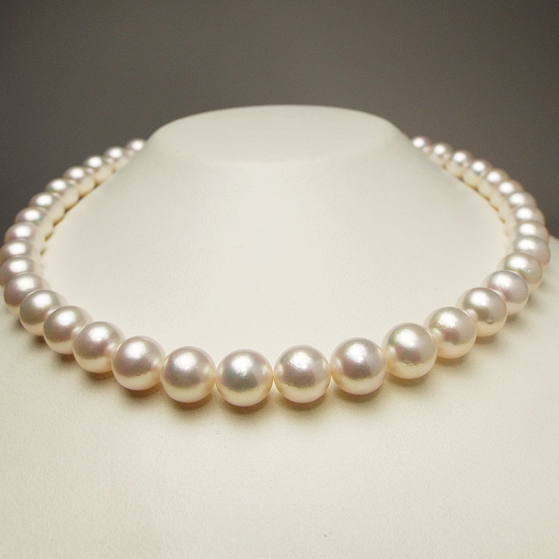 希少な和珠の超大珠お買い得9�−9.7�大粒ネックレス。二本目にお勧め優しいピンク系…お洒落な留めマグピタ付き【あこや真珠】