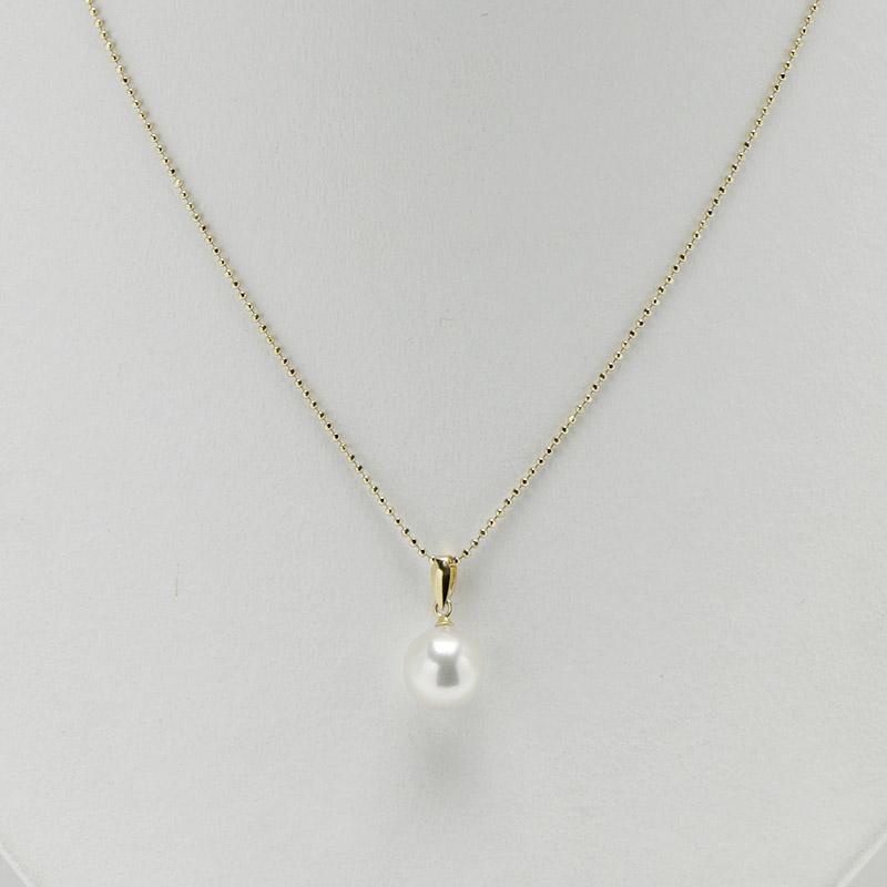 珠玉の8.5mm前後の一粒真珠ペンダントK18 【あこや真珠】