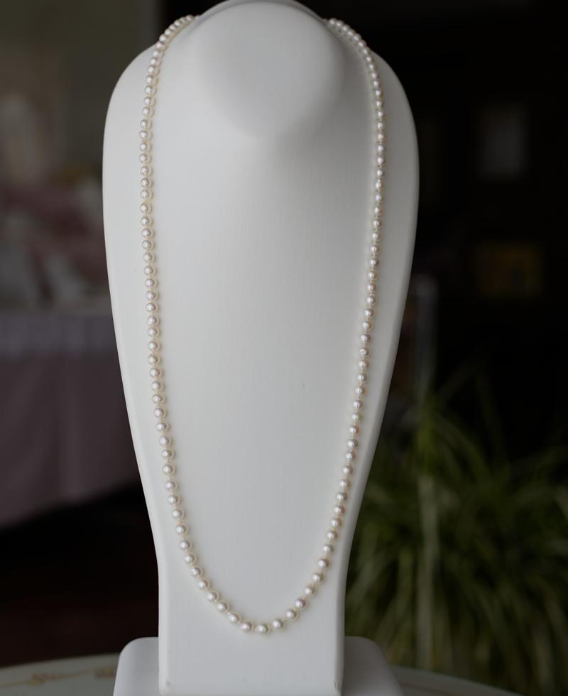 細めロングネックレス6�-7�調節できるクリッカータイプ88cm【あこや真珠】